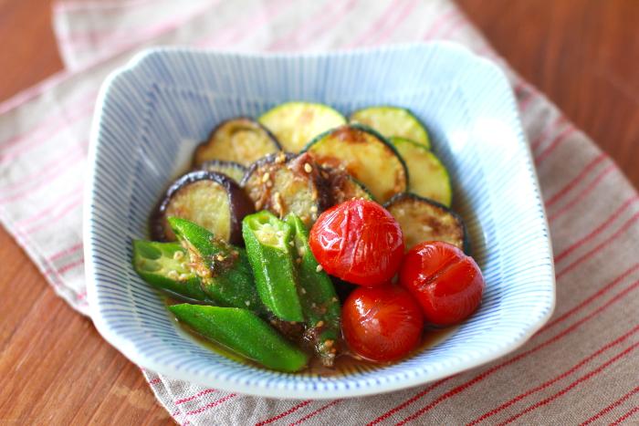 オリーブオイルポン酢の夏野菜焼きびたし