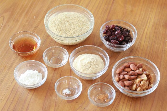 玄米グラノーラ材料