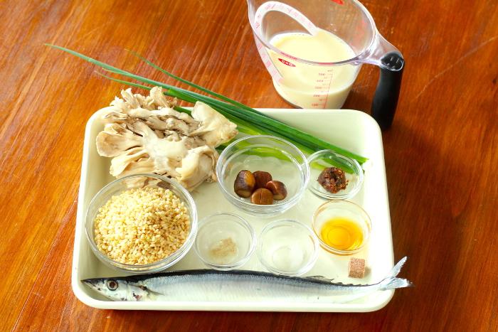 玄米リゾット材料