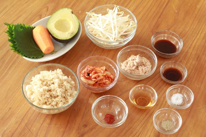 玄米ビビンバ材料