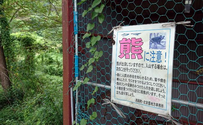 池田町陸郷桜仙峡熊に注意